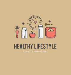 healthy fitness lifestyle lineart concept vector image