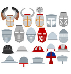 Helmets medieval knights vector