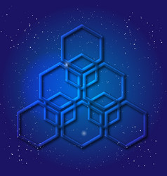 Hexagonal 3d design made in cosmic style sacral vector