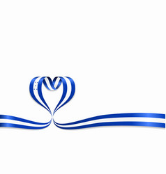honduras flag heart-shaped ribbon vector image