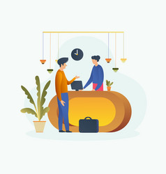 hotel receptionist and customer conversation vector image