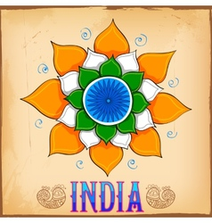 Indian kitsch art style background with lotus vector