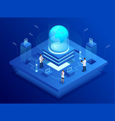 Isometric global network concept global network vector