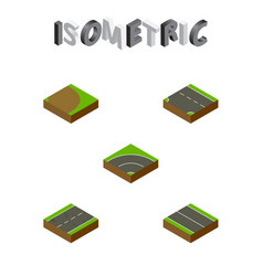 Isometric road set of flat downward bitumen and vector