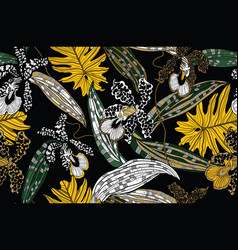 Jungle yellow flowers and leaves on black vector
