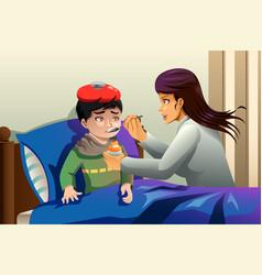 Kid taking medicine vector