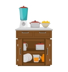 Kitchen chest of drawers with appliances vector image