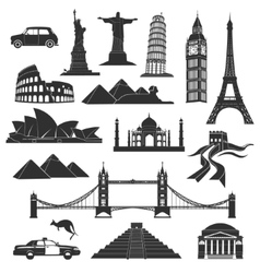 landmarks in black with elements vector image