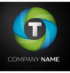 Letter T logo symbol in the colorful circle on vector image