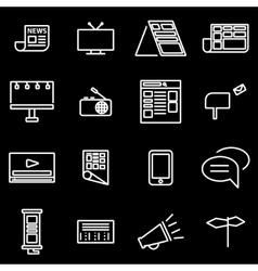 Line advertisement icon set vector