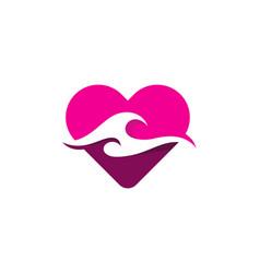 Love wave logo icon design vector