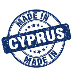 made in cyprus blue grunge round stamp vector image