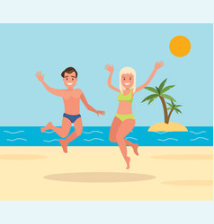 Man and woman jumping on the beach background vector