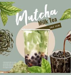 Matcha bubble milk tea set promotion ad template vector
