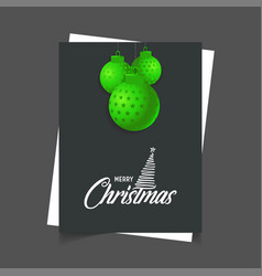 merry christmas hanging ball poster template vector image