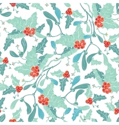 Mistletoe Holly Berries Blue Red Seamless vector