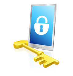 Mobile phone lock and key vector