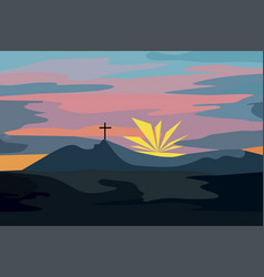 Mountain landscape at sunset with a cross vector