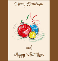Multicolored christmas balls vector