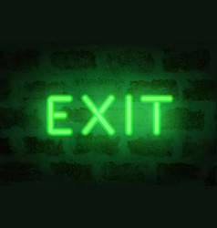 neon exit letters on brick wall vector image