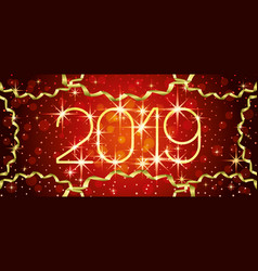 new year red banner 2019 vector image