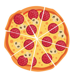 pepperoni and mushroom pizzaprint vector image