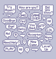 pixel speech bubbles video game talk balloon vector image