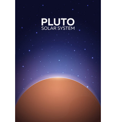 poster planet pluto and solar system space vector image