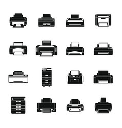 Printer office copy document icons set simple vector