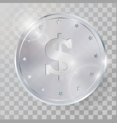 realistic 3d silver coin vector image