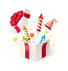 Realistic detailed 3d party concept box gift vector
