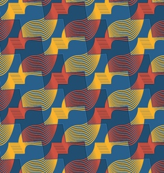 Retro 3d red yellow and blue zigzag cut ribbons vector