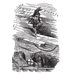 Robinson crusoe looting the wreck vintage vector