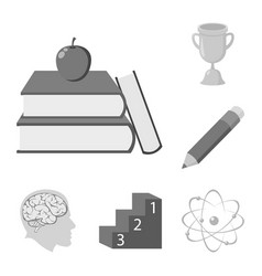 School and education monochrome icons in set vector