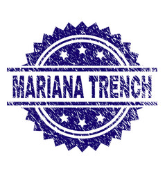 Scratched textured mariana trench stamp seal vector
