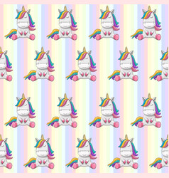 seamless pattern unicorns on a rainbow vector image