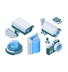 security camera smart isometric set electronic vector image