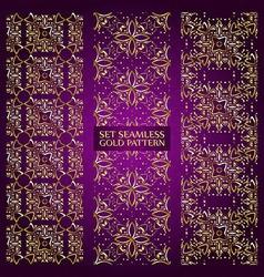set golden lace pattern purple vector image