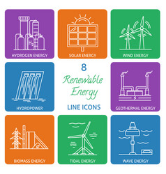 Set of renewable energy line icons vector