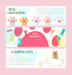 Set pet grooming salon cards vector