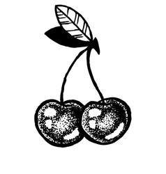 Sketch cherries dot work vector