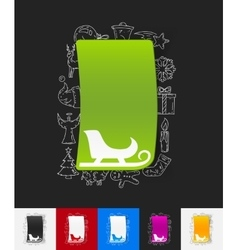 Sledge paper sticker with hand drawn elements vector