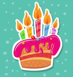 sticker with birthday cake and candles vector image