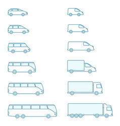 the size transport icon set compact vector image
