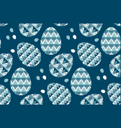 tribal geometry blue easter egg decoration vector image