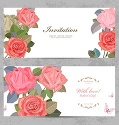 vintage invitation cards with lovely roses with vector image