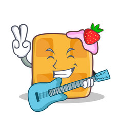 Waffle character cartoon design with guitar vector