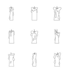 wax candles icon set outline style vector image