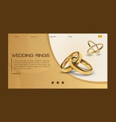 Wedding rings wed shop business landing vector