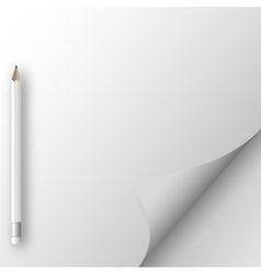 White sheet of paper with pencil vector image